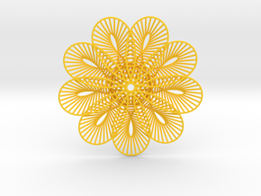 Flower Of Lines Coaster in Yellow Processed Versatile Plastic