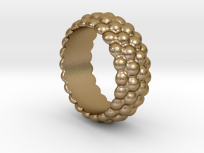 Big Bubble Ring 24 - Italian Size 24 in Polished Gold Steel