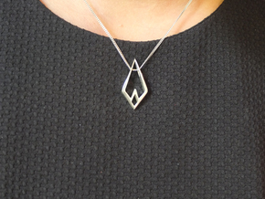 HIDDEN HEART Airy, Pendant. Sharp Chic in Polished Silver