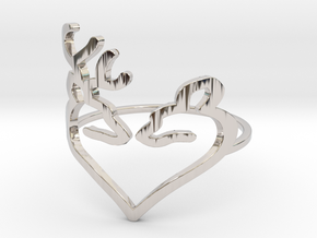 Size 6 Buck Heart in Rhodium Plated Brass