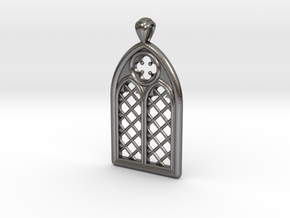 Gothic Window Pendant (L) in Polished Nickel Steel