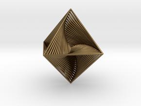 0047 Octahedron Line Design (4.6 cm) #001 in Polished Bronze