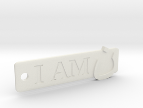 'I Am N' Keychain in White Natural Versatile Plastic