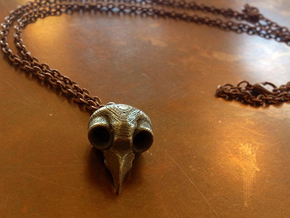 Flame Owl Skull Pendant in Polished Bronzed Silver Steel