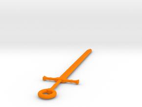 Large Sword Of Kings Keychain  in Orange Processed Versatile Plastic