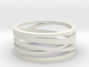 Abstract Lines Ring - US Size 08 in White Natural Versatile Plastic