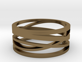 Abstract Lines Ring - US Size 08 in Polished Bronze