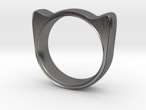 Meow ring 17mm in Polished Nickel Steel