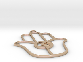 Chamsa with Crescent and Star of David in 14k Rose Gold Plated Brass
