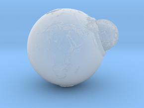 Planet Earth and Moon in Union in Smooth Fine Detail Plastic
