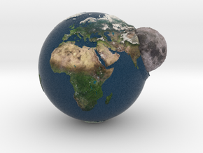 Planet Earth and Moon in Union in Full Color Sandstone
