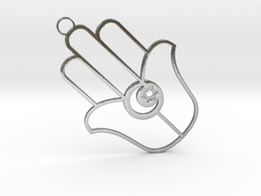 Small Chamsa with Crescent and Star of David in Polished Silver