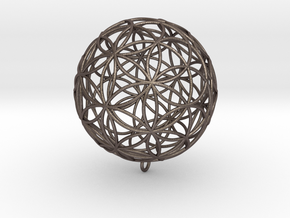 Pendant 100mm Flower Of Life in Polished Bronzed Silver Steel