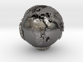Planet Earth with relief continents highlighting in Polished Nickel Steel