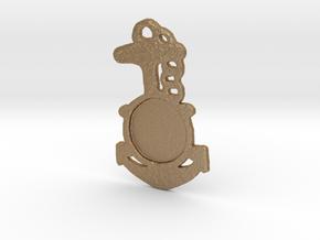 Wheel & Ancker Keychain in Matte Gold Steel