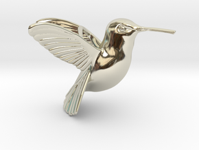 Hummingbird Pendant in 14k White Gold