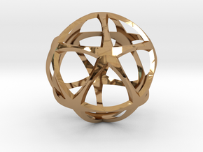 0302 Star Ball (Icosohedron with Stars) 3.0cm #001 in Polished Brass