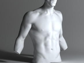Man Body Part 001 scale in 4cm in White Processed Versatile Plastic