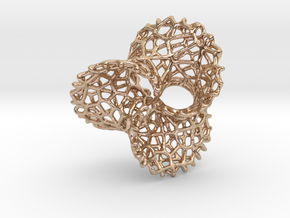 Scherk 7 Voronoi Mesh Pendant - 36mm in 14k Rose Gold Plated Brass