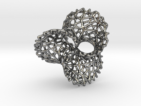 Scherk 7 Voronoi Mesh Pendant - 36mm in Fine Detail Polished Silver