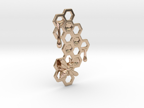 Honey Comb Charm in 14k Rose Gold Plated Brass