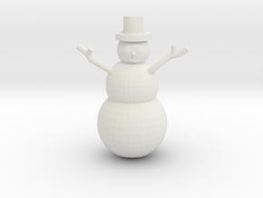Snowman Miniature in White Natural Versatile Plastic