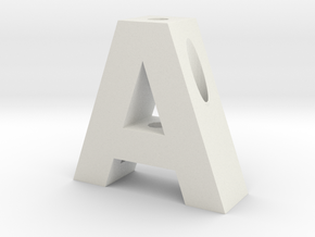 """A"" Pencil Holder in White Natural Versatile Plastic"