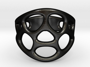 Cell Ring in Matte Black Steel: 6 / 51.5