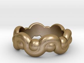 Strange Fantasy Ring 24 - Italian Size 24 in Polished Gold Steel