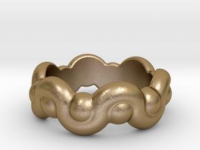 Strange Fantasy Ring 30 - Italian Size 30 in Polished Gold Steel