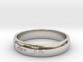 Ring Love You in Rhodium Plated Brass