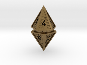 Hedron D10 Spindown Life Counter - HOLLOW DIE in Natural Bronze