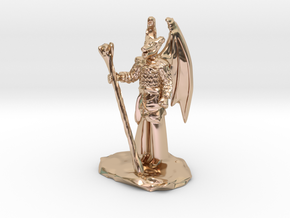 Winged Dragonborn Druid in Robes with Staff in 14k Rose Gold Plated Brass