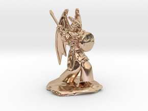Winged Dragonborn Druid with Scimitar and Shield in 14k Rose Gold Plated Brass
