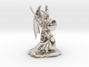 Winged Dragonborn Druid with Scimitar and Shield in Rhodium Plated Brass