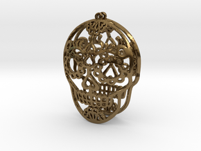 Day of the Dead Skull Earrings in Polished Bronze