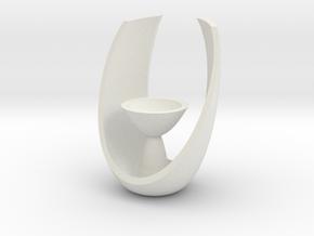 Modern Oval Tealight Holder in White Natural Versatile Plastic