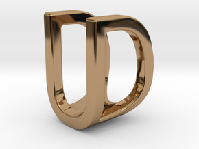 Two way letter pendant - DU UD in Polished Brass