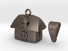 Cute House Pendant in Polished Bronzed Silver Steel