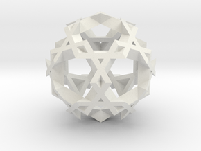 Asterisk Ball - 2.4 cm in White Natural Versatile Plastic