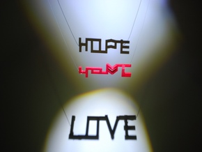 Hope and Love in Red Processed Versatile Plastic