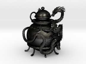 Prosperity Dragon Oil Lamp in Matte Black Steel