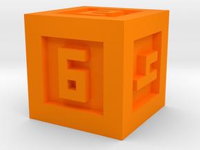 Bordered Dice 6 Sided in Orange Processed Versatile Plastic