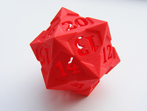 'Starry' D20 Spindown LARGE in Red Processed Versatile Plastic