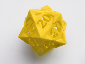 'Starry' D20 Gaming die LARGE in Yellow Processed Versatile Plastic