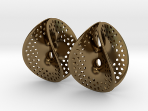 Small Perforated Chen-Gackstatter Thayer Earring in Polished Bronze
