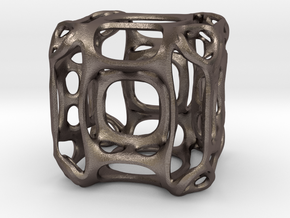 HyperCube A in Polished Bronzed Silver Steel