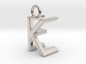 Two way letter pendant - EK KE in Rhodium Plated Brass