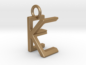Two way letter pendant - EK KE in Matte Gold Steel