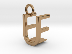 Two way letter pendant - EU UE in Polished Brass